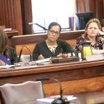 From left: Councilmembers Vanessa Gibson, Julissa Ferreras-Copeland and Melissa Mark-Viverito. Photo: William Alatriste