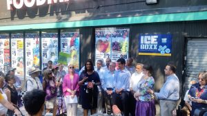"""Too many small businesses are being forced to close their doors,"" said Public Advocate Letitia James (center)."