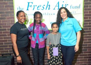 From left to right: Tara Gardner; Faith Ndiaye; Destiny De Leon and Fatima Shama, Executive Director of The Fresh Air Fund. Photo: Jerry Speier