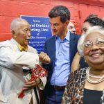 Councilmember Ydanis Rodríguez congratulates Dinkins. Photo: John McCarten | NYC Council