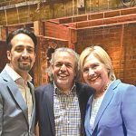 Miranda joins his father Luis and candidate Hillary Clinton on stage.