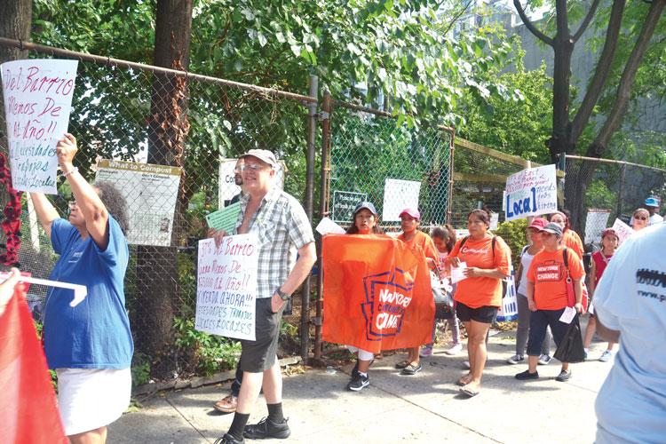 The rally drew dozens of protestors.