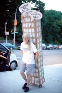 A protestor on Broadway. Photo: Cris Vivar