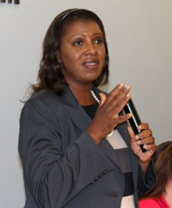 """Equal pay for equal work,"" urged Public Advocate Letitia James."