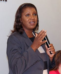 """""""Today's indictment should be a message,"""" said Public Advocate Letitia James."""