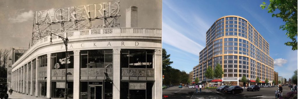 The former Packard Building (left) might soon be Sherman Plaza.