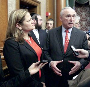 """""""I commend him for working hard to keep crime low,"""" said Council Speaker Melissa Mark-Viverito, here with Bratton in April 2015."""