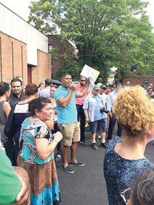 Protestors gathered at St. Jude's Church.