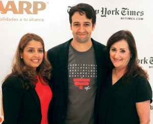 Miranda (center) with AARP New York Associate State Director Yvette Martínez (left) and AARP New York State Director Beth Finkel. Photo: L. Puntiel