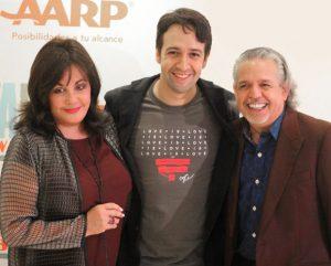 From left: Broadway League President Charlotte St. Martin, Lin-Manuel Miranda and Luis Miranda. Photo: L. Puntiel