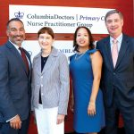 From left: Associate Dean Ferrara; Dean Bobbie Berkowitz; Practice Manager Diana Hernández, and Dean Lee Goldman. Photo: CUMC
