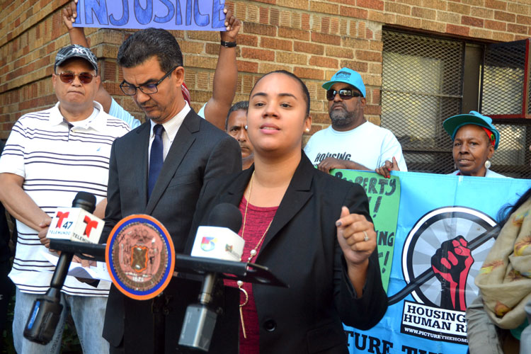 """""""The culture of displacement in this community stops here,"""" said Carmen De La Rosa."""