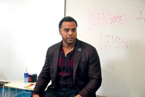 Major League Baseball player Nelson Cruz visited Harbor Heights Middle School.