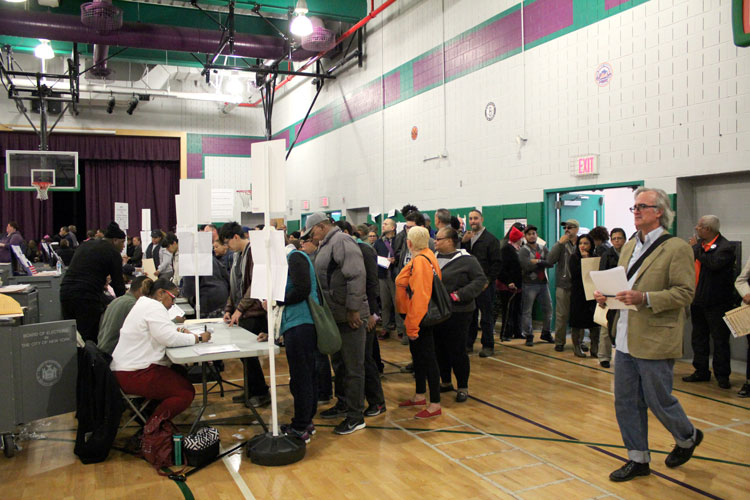 The lines were long at P.S. 366 in Northern Manhattan.