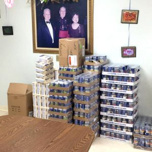 Canned goods were stored at the center.