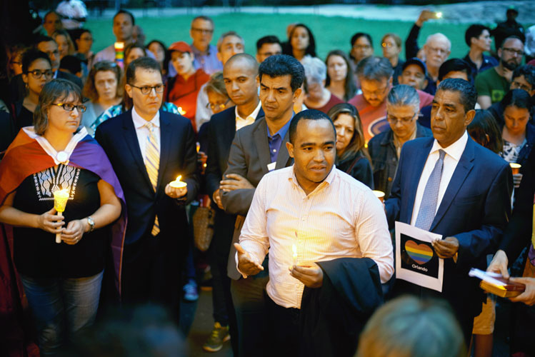 Juan Ignacio Rosa at a vigil earlier this year.