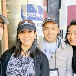 Vargas with other volunteers on Election Day.
