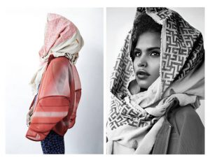 Mengeley Hernández's silk screened scarves.