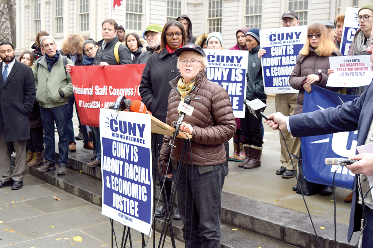 """CUNY is central to the survival of New York City,"""" said PSC President Barbara Bowen."""