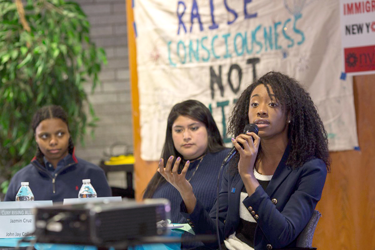 The Alliance has been holding meetings across campuses; here, Chika Onyejiukwa of the University Student Senate (far right) speaks at Lehman College.