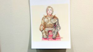 Hillary Clinton depicted as a Joan of Arc figure.