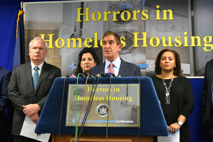 """""""They're providing substandard living conditions,"""" said State Senator Jeff Klein (center)."""