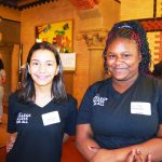 """""""It's really opened my mind up,"""" says sixth grader Daniela Droz (left), with Zsanay Anderson."""