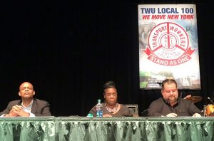"""We're going to keep showing up and try to get a deal,"" said ‎TWU President John Samuelsen (far right)."