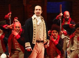 On stage as Alexander Hamilton.