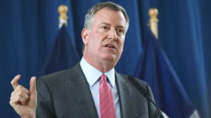"""It's ridiculous to keep putting plastic bags into our landfills,"" said Mayor Bill de Blasio."