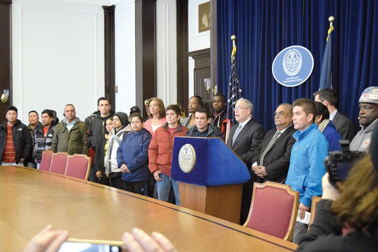 City Comptroller Scott M. Stringer (center) announced the findings.