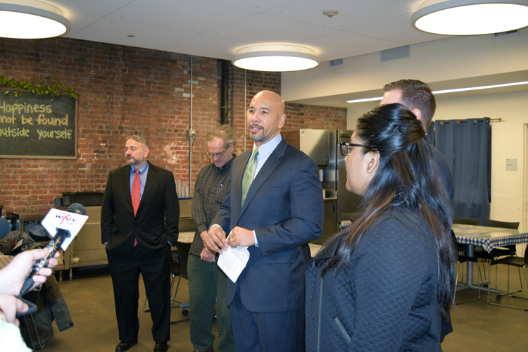 """This is truly government working at its best,"" said Borough President Rubén Díaz Jr. (center)."