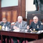 NYPD First Deputy Commissioner Benjamin Tucker (far left) testified with fellow department heads.