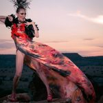"Orlando Dugi (Diné [Navajo]), cape, dress, and headdress from ""Desert Heat"" collection, 2012. Silk, organza, feathers, beads, and 24k gold; feathers, beads, and silver; porcupine quills and feathers. Model: Julia Foster. Hair and makeup: Dina DeVore. Photo by Nate Francis/Unék Photography"