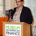 Williamson speaks at the Museum of American Finance.