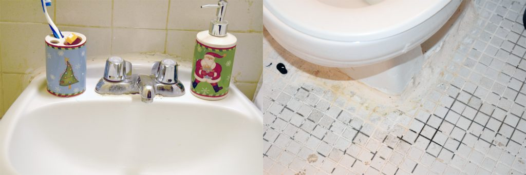 There are patchwork repairs done around leaky toilets and sinks.