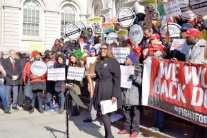 Public Advocate Letitia James (center) supports the legislation.