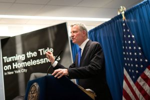 """I today cannot see an end,"" said de Blasio of the city's homelessness crisis. Photo:  Edwin J. Torres"