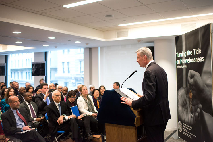 De Blasio reveals his latest strategy. Photo: Edwin J. Torres