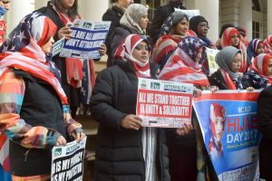 A rally supporting Muslim women was held in February. Photo: G. McQueen