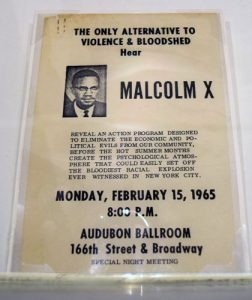 A notice for a 1965 Malcom X speech, days before he was assassinated.
