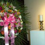 Flowers in honor of the deceased.