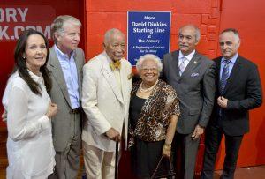 Rita Finkel, left, at dedication of David Dinkins Starting Line.