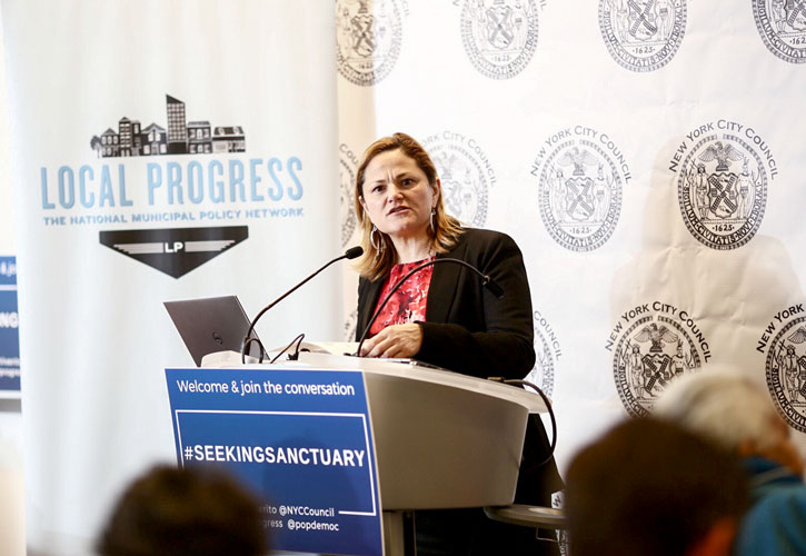 """It is illegal for the federal government to withdraw funds,"" said Council Speaker Melissa Mark-Viverito.Photo: William Alatrastie"