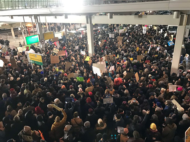 The first ban sparked protests at JFK Airport. Photo: MoveOn.org