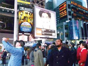 The campaign has been shown in Times Square.