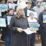 "Public Advocate Letitia James urged those present to be ""warriors for peace and justice."""