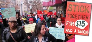 Workers rallied uptown for higher wages in 2013.