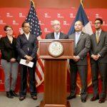 """We need an economy built on fairness,"" said City Comptroller Stringer (center)."