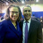 """This is a big deal,"" said Mission Society Executive Director Elsie McCabe Thompson, here with Congressman Adriano Espaillat."